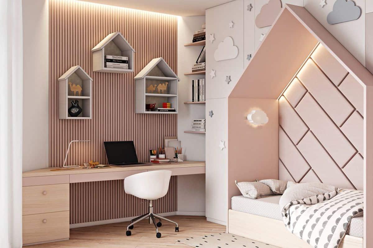 soft pink bedroom for kids