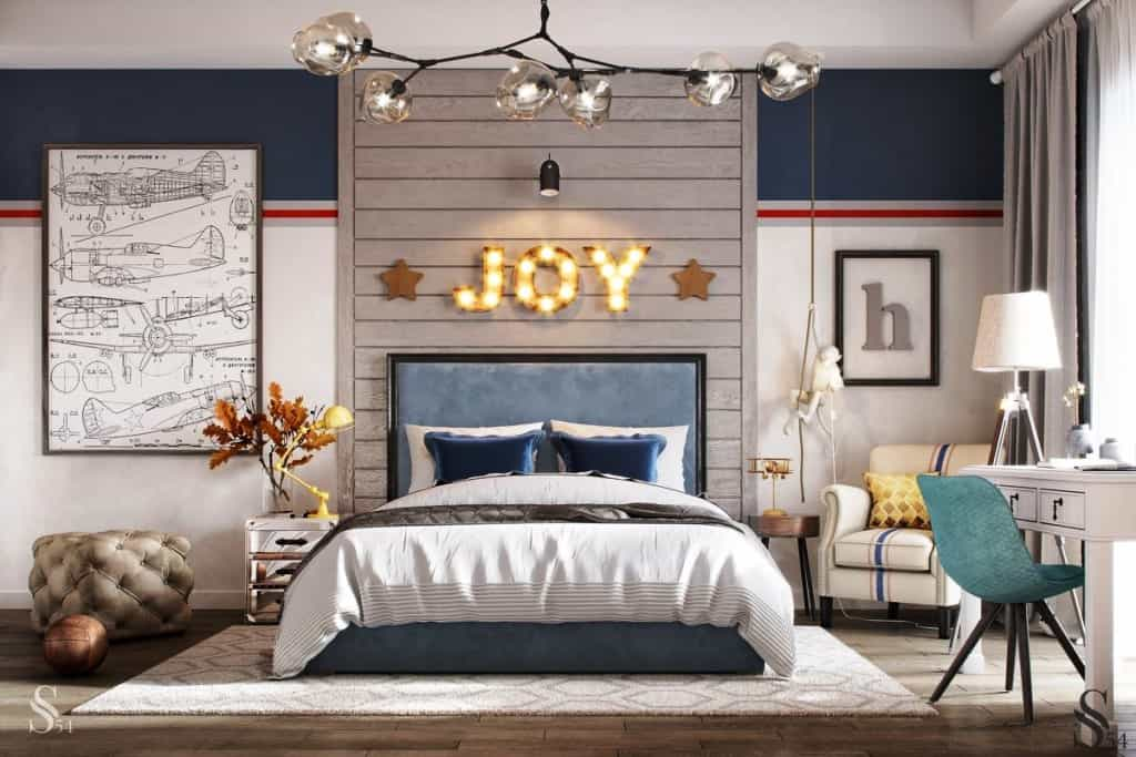 bright kids room with a blue bed