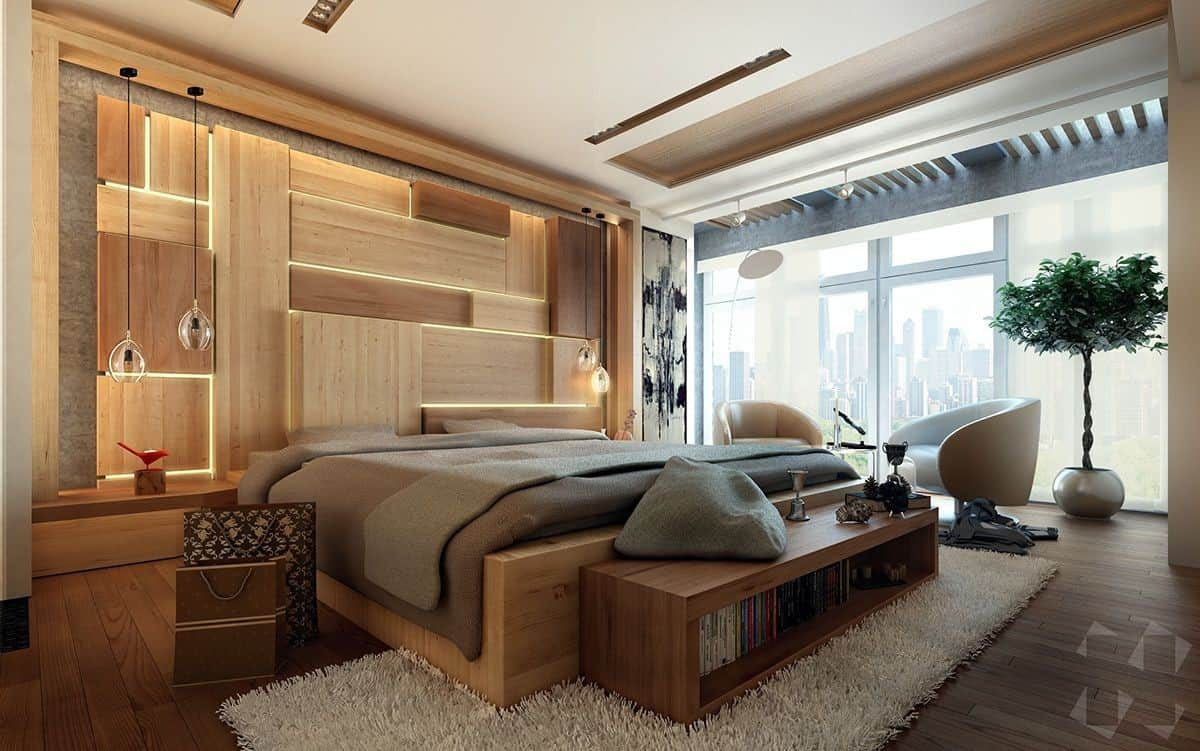 Wooden bedroom wall tiles for a clean and contemporary balance; bedroom false ceiling design; bedroom layout