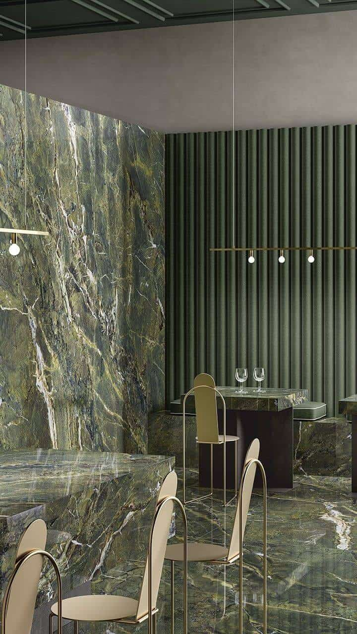green granite wall in the dining area