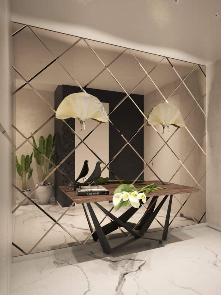 mirror wall with a geometric pattern