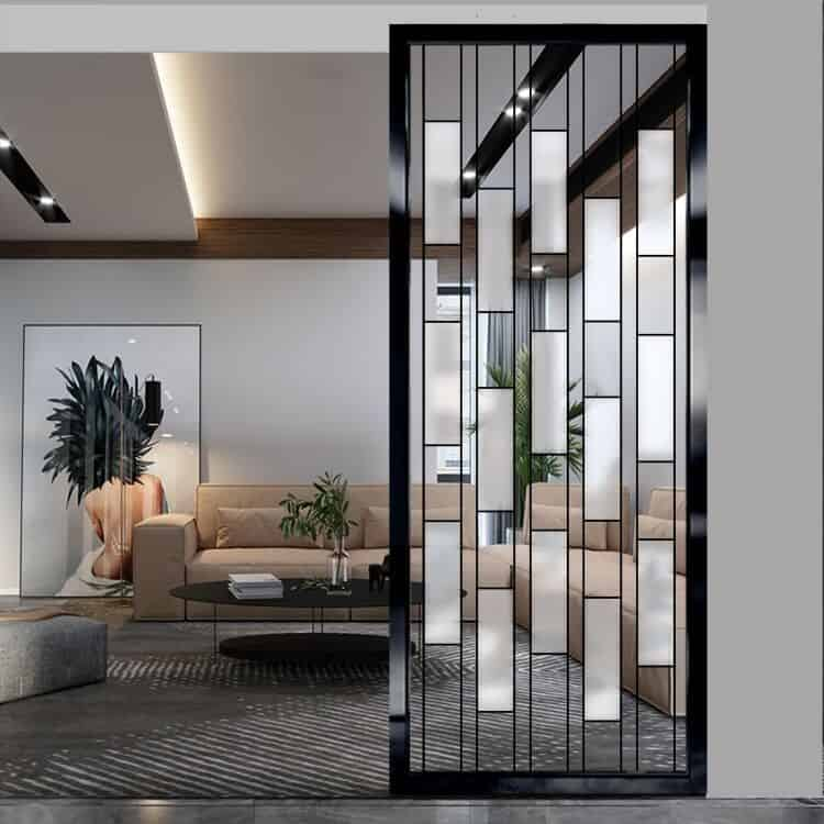 glass partition wall design with black metal frame