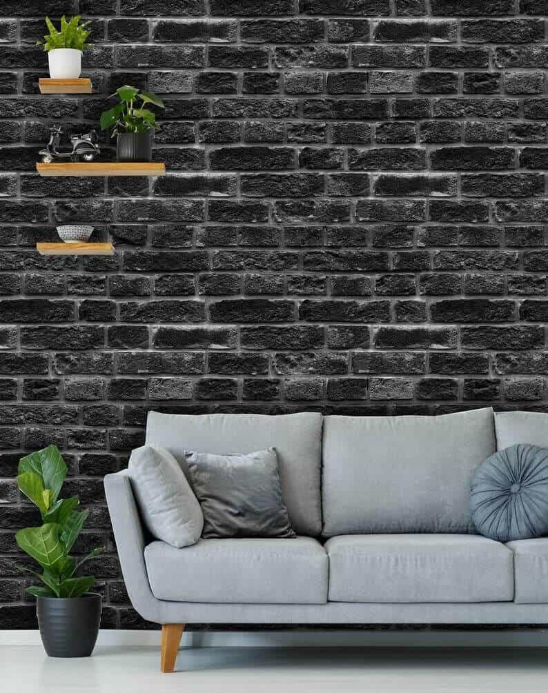 black & grey brick wall design for living room