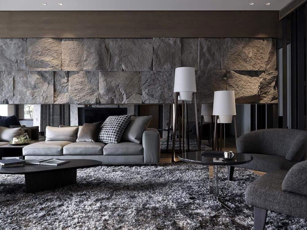 dark gey natural stone wall design for living room