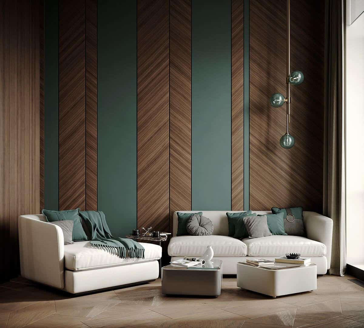 stained accent plywood wall design in green color