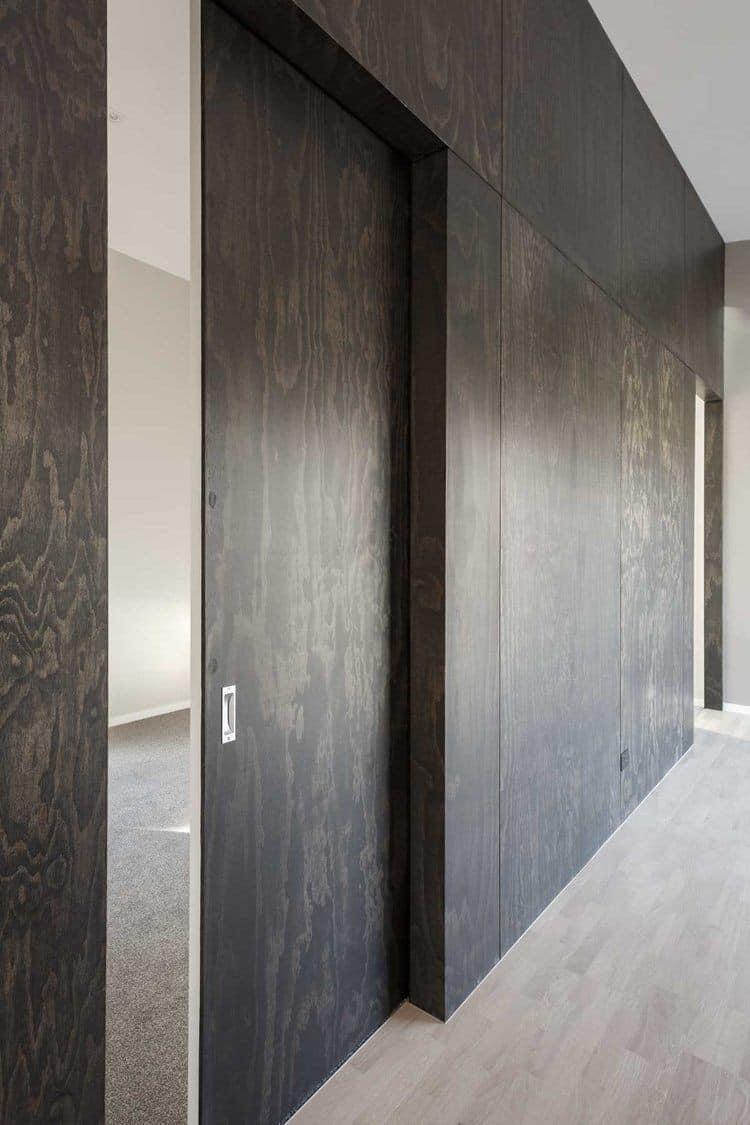 dark brown plywood wall design
