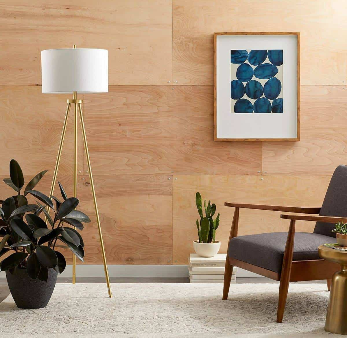basic neutral plywood wall with matching accessories