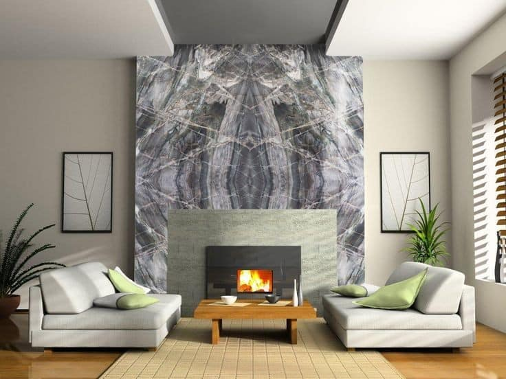 grey granite feature wall design for living room
