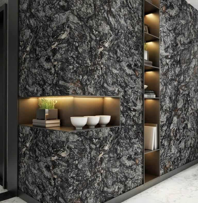 black natural stone wall design with storage space and concealed lights