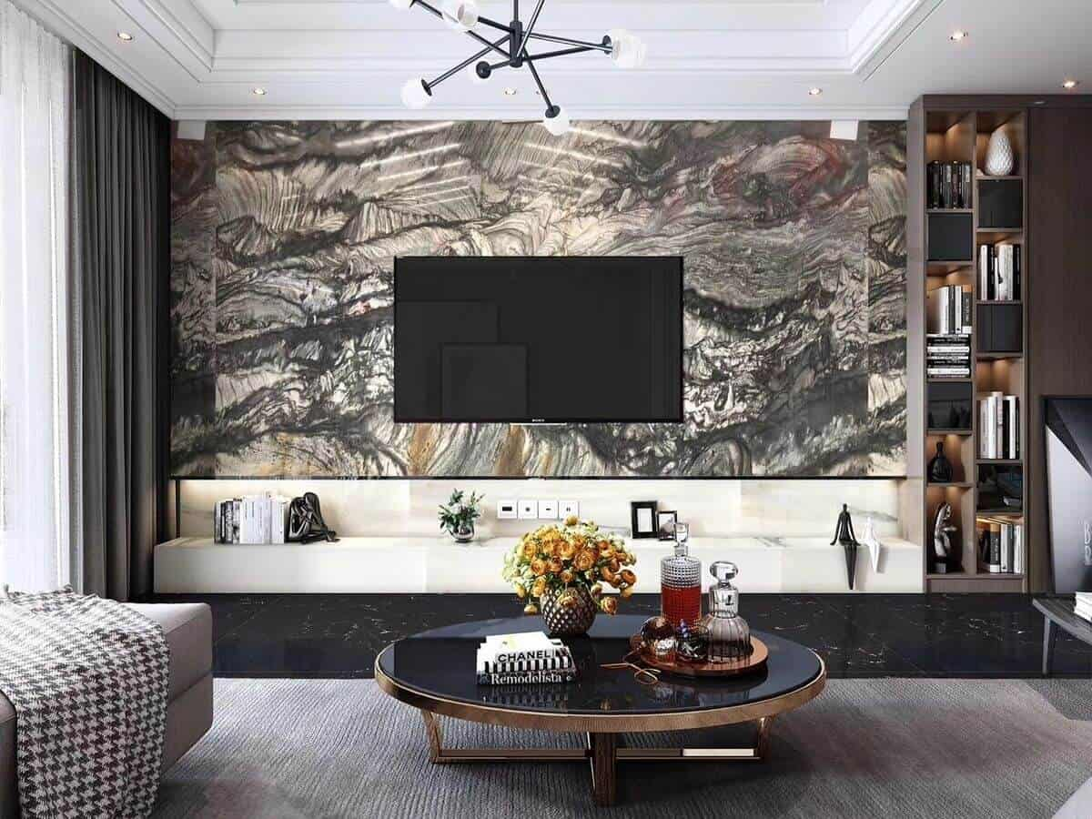 abstract marble tv wall design