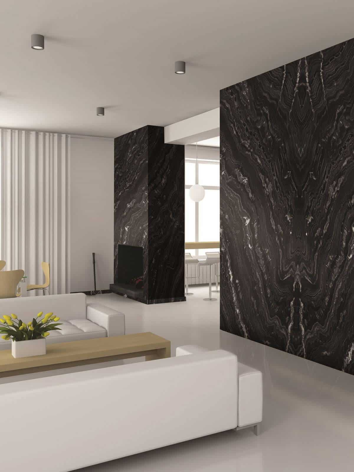 black granite feature wall with white surrounding walls