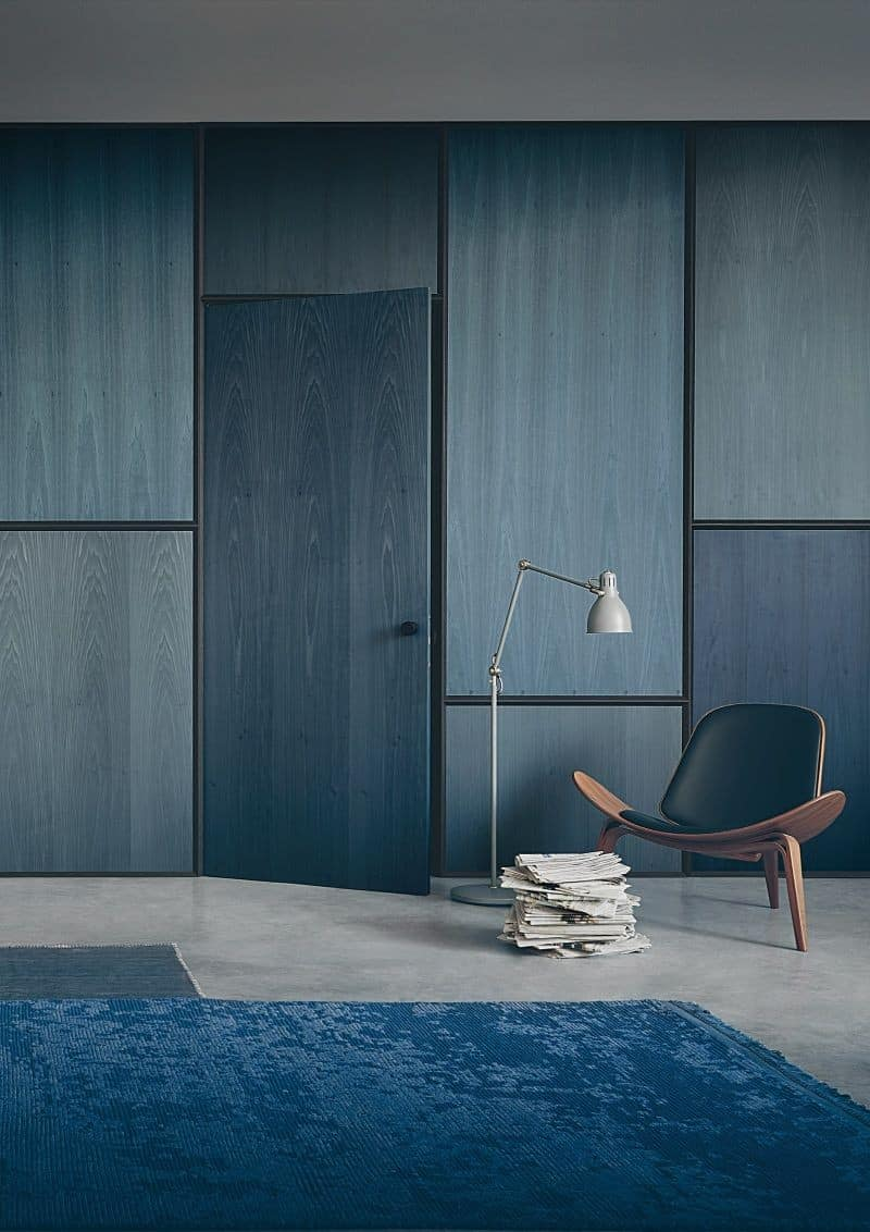 blue wall design with cupboards