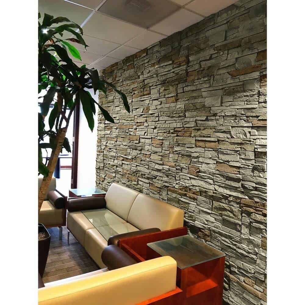 brick wall design with rustic quarry stone