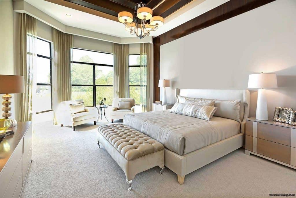 Transitional bedroom with a blend of grey hues; bedroom false ceiling design