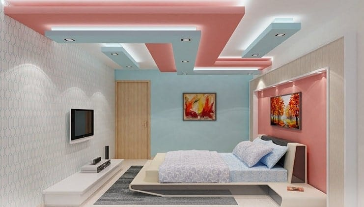 peach and blue bedroom false ceiling with concealed lighting
