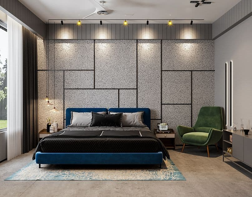 Embrace the statement-making wall design for an opulent boost in the bedroom
