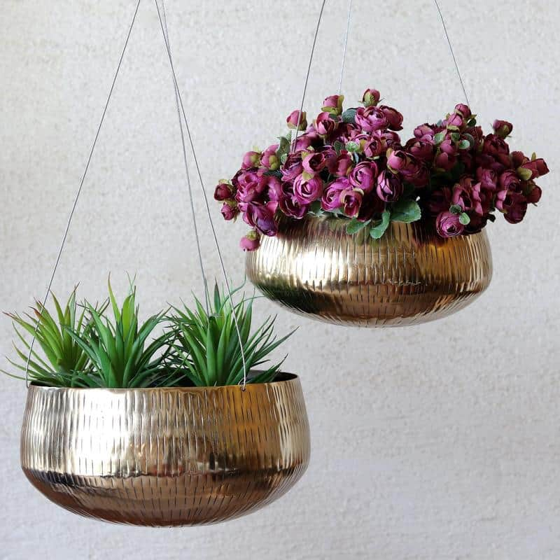 Brass Hanging Pots by Mora Taara suitable for bonsai