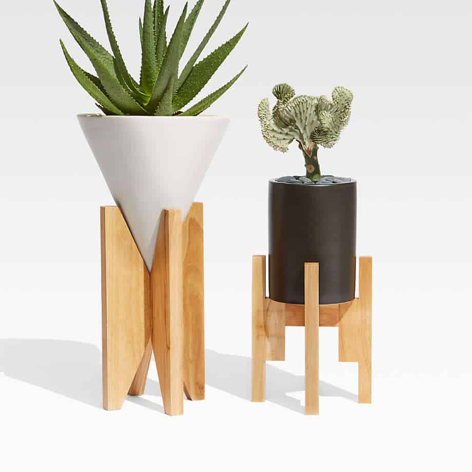 black and white small ceramic pots with wooden stand suitable for bonsai