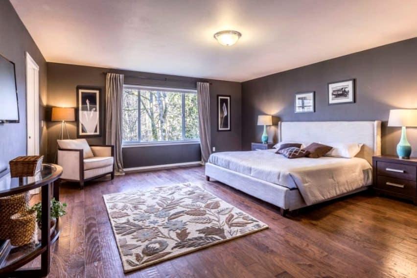 simple grey bedroom layout