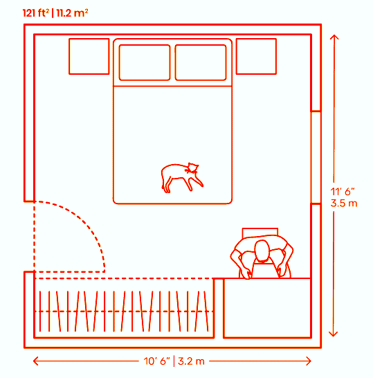 Double bedroom plan layout with front closet