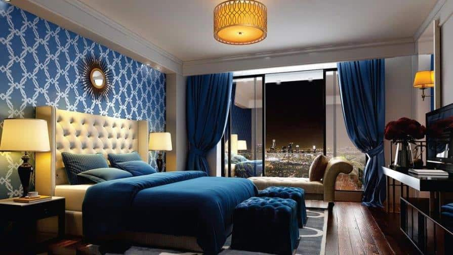 blue wall design layout for bedroom using stencil