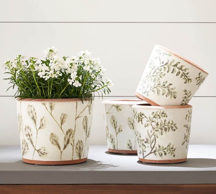Hand Painted Green Leaf Printed Ceramic Planters suitable for bonsai