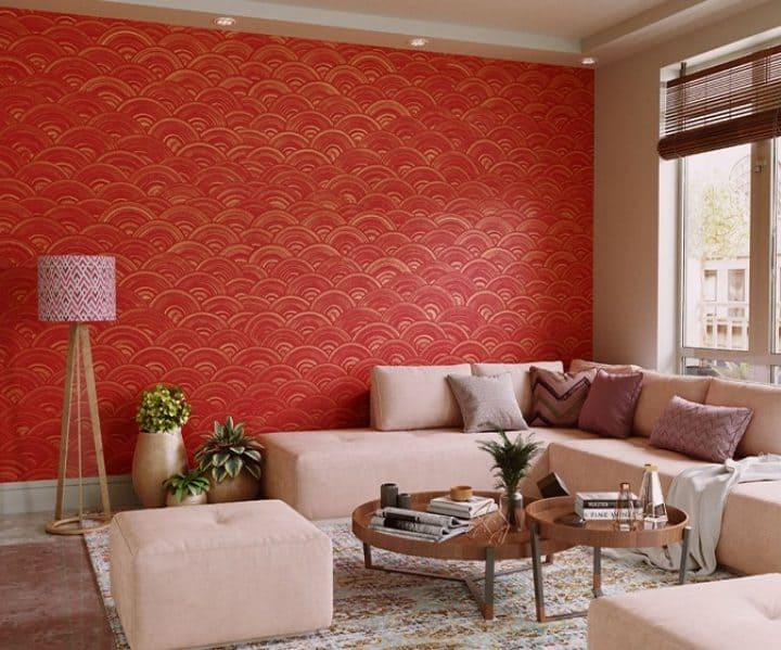 orange heavily textured paint wall