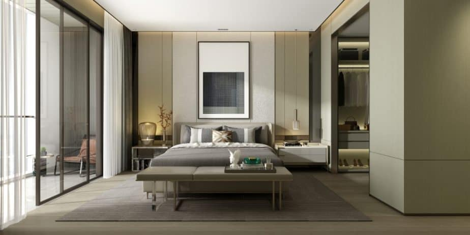 bedroom design with walk-in wardrobe