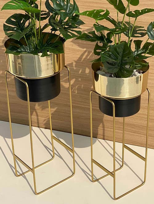 golden and black planters stand