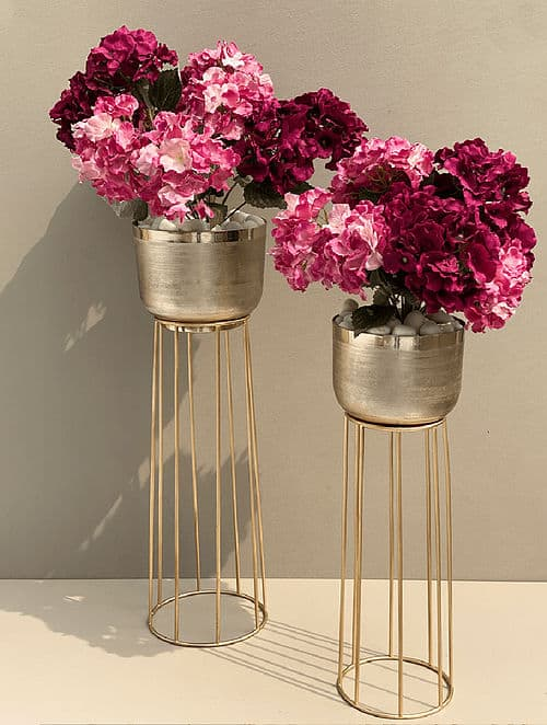 golden planters stand
