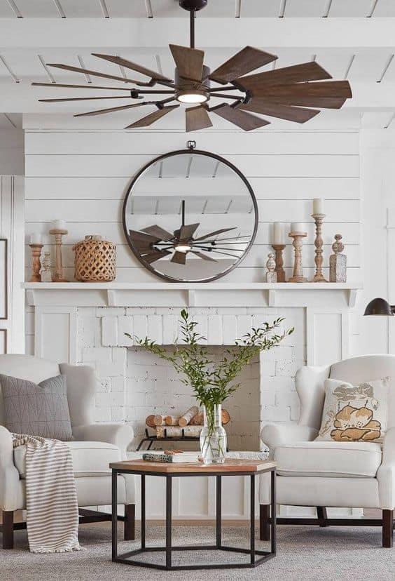 Multiple-blade fan for living room.