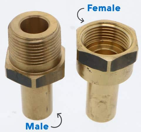 male and female adaptors for pipes