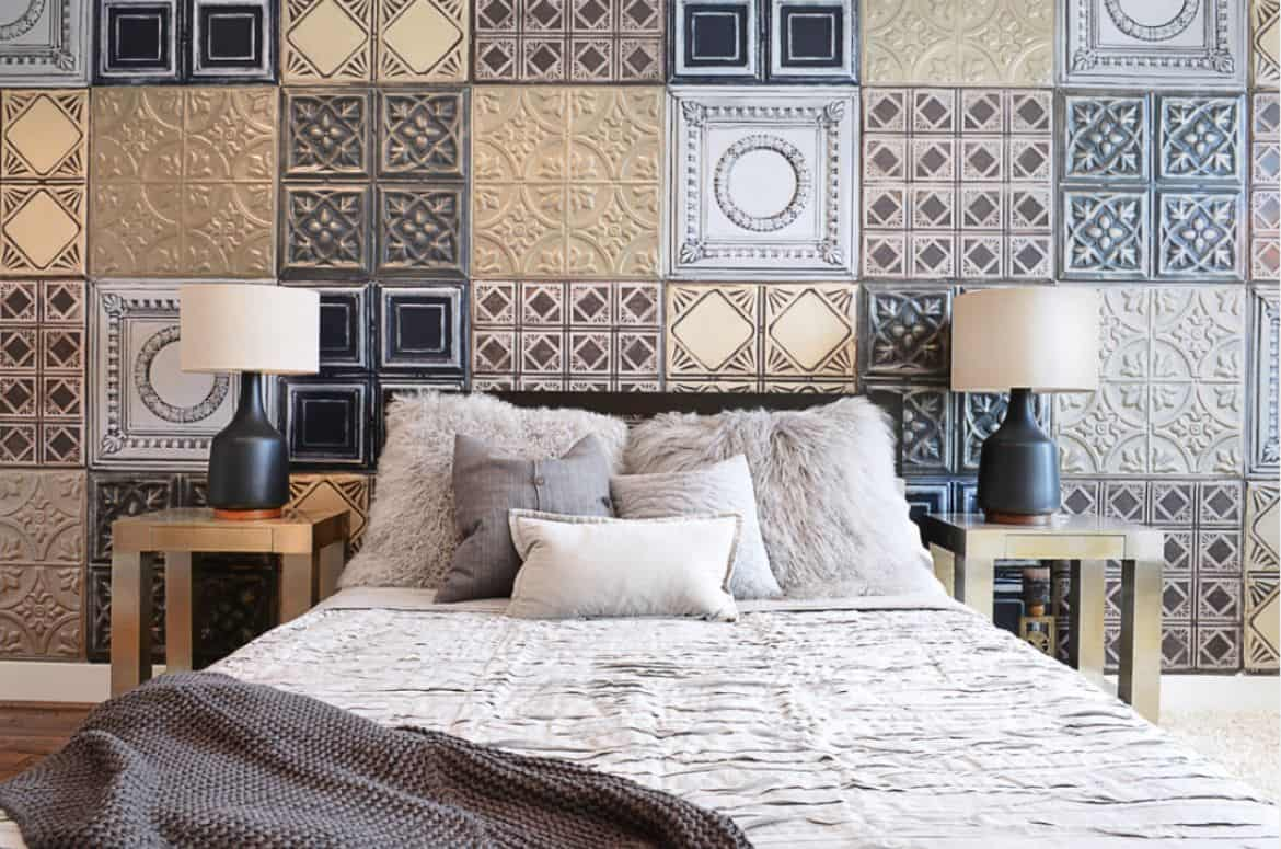 patterned and embossed tiles for bedroom