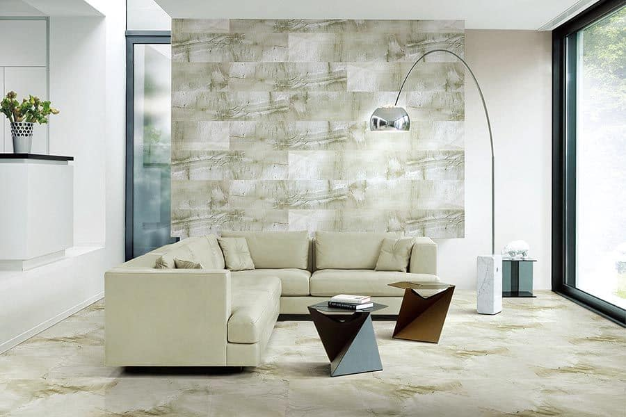 pastel green and white abstract tiles for living room