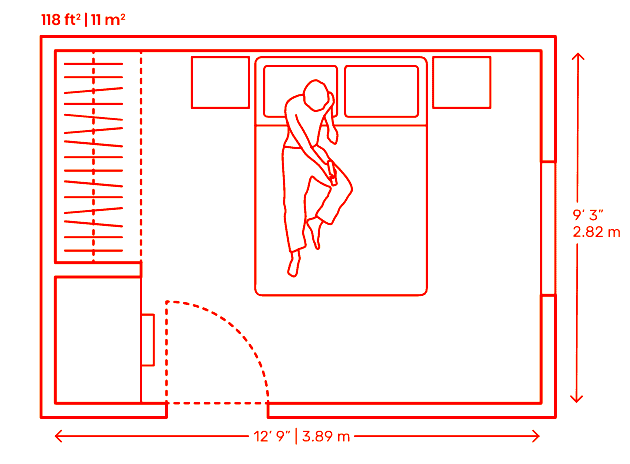 Double bedroom plan layout with side closet