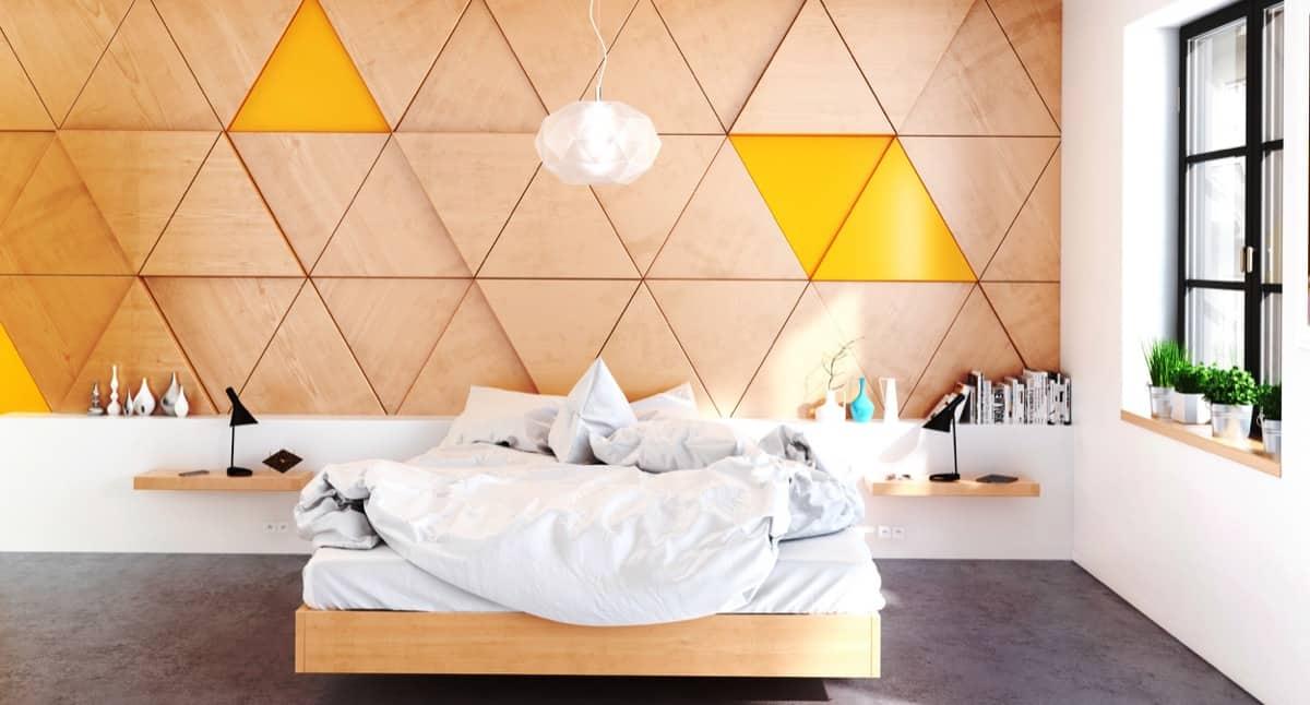 triangular mustard bedroom wood wall