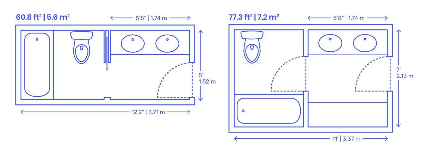 Split toilet shower tub and vanity area