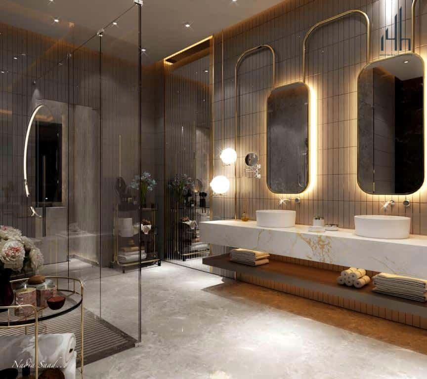 well-lit bathroom with mirror lights