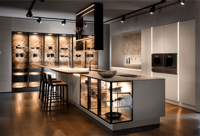 a well-lit kitchen with cupboard and shelflights