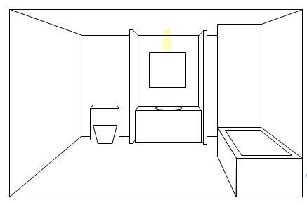 A single spotlight from above for bathroom lighting