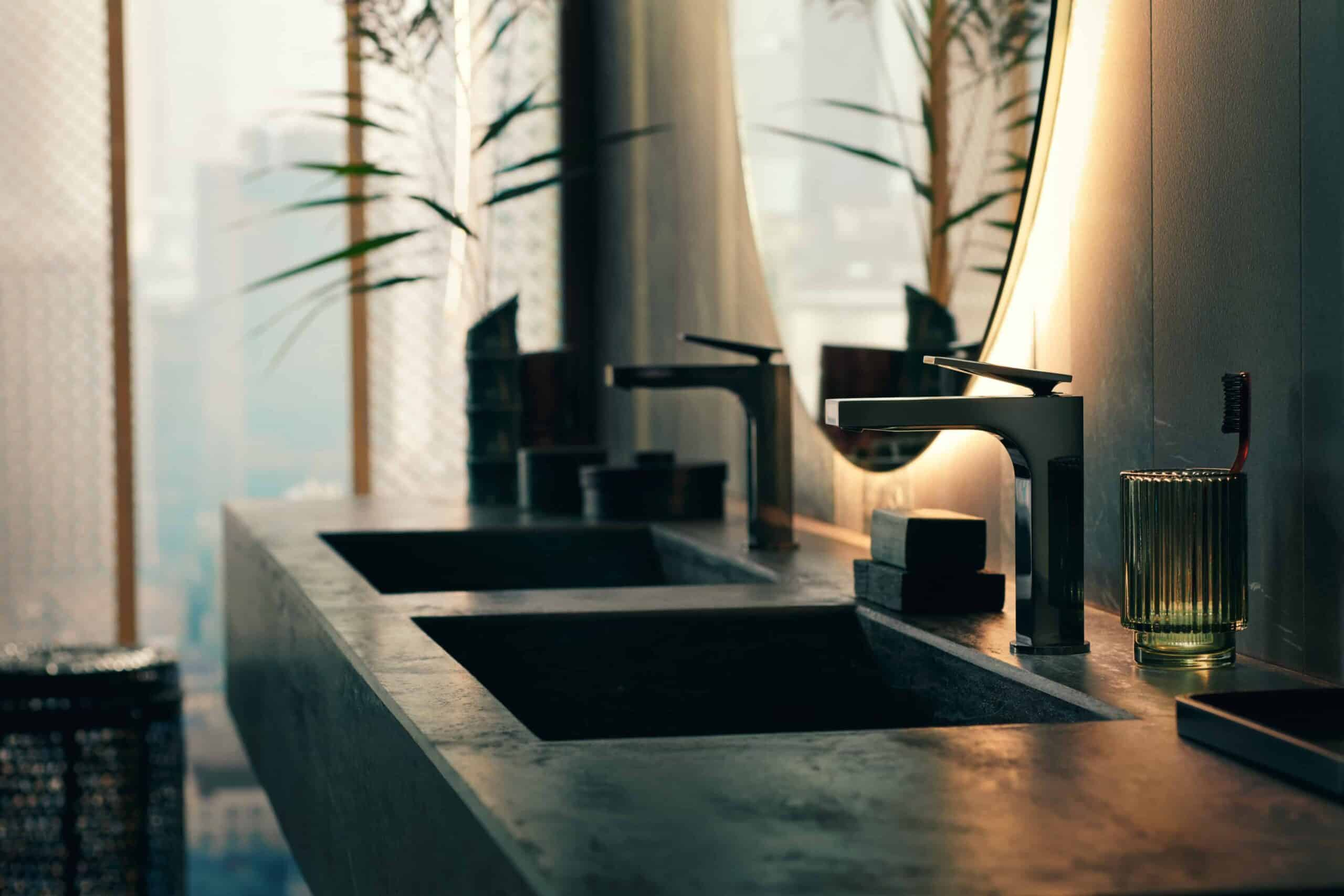 black faucet from the AXOR Citterio bathroom collection