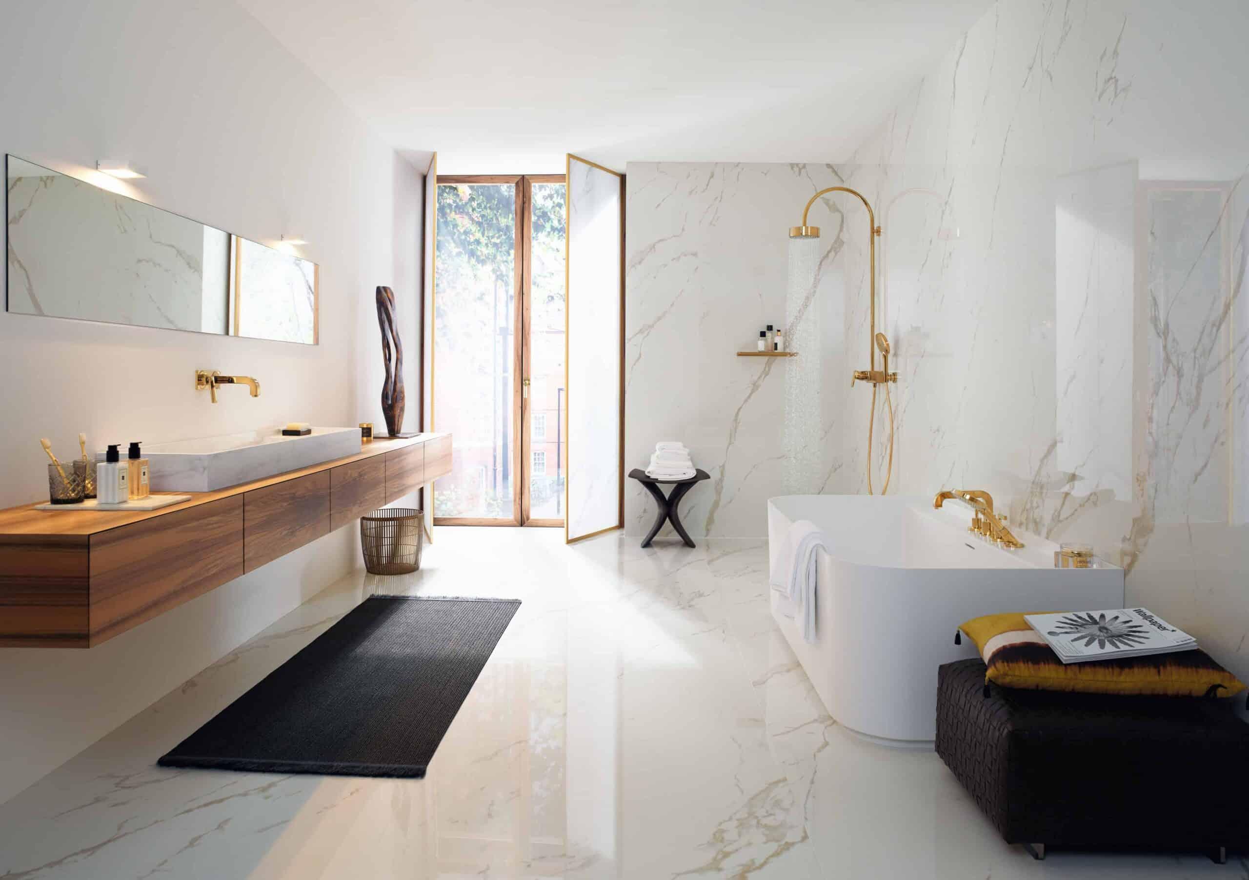 AXOR Citterio modern bathroom design collection, white and gold themed bathroom