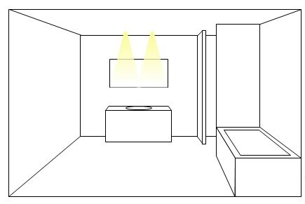 Include more spotlights for wide mirrors in lighting