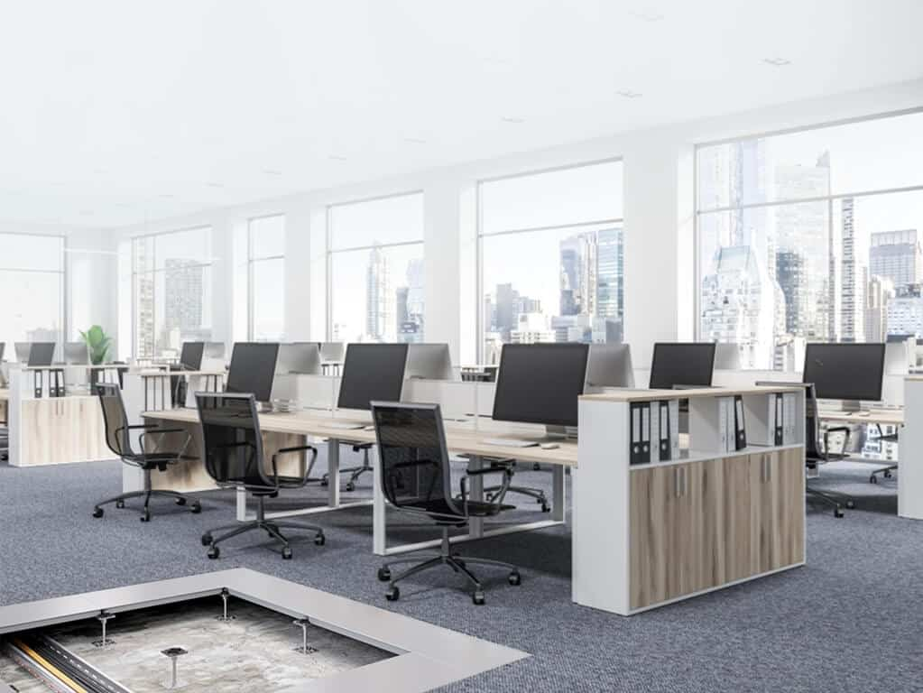 open office setup with raised access flooring by Unitile