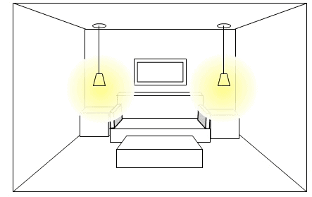 Task lighting with reading lights suspended from ceiling