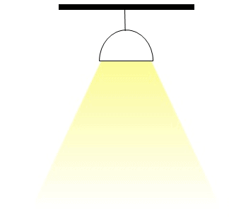 luminaire producing a downward projected solid shade