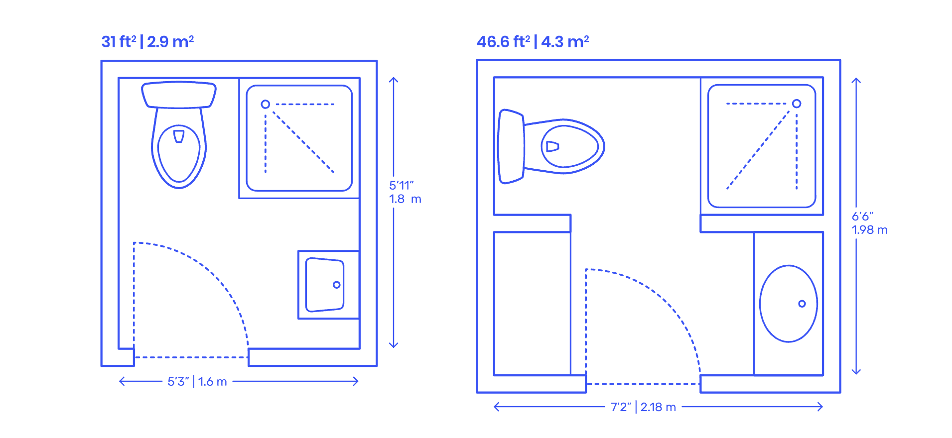 Corner shower layout