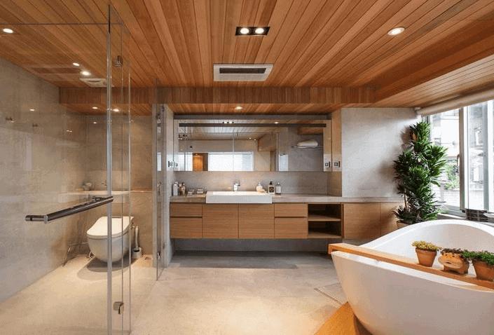 Wooden bathroom false ceiling design with cement floor