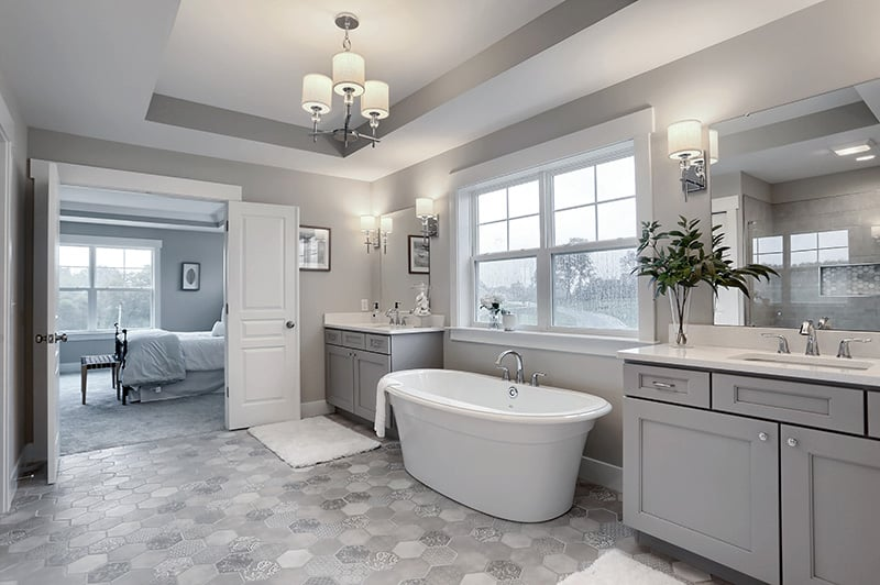 bathroom false ceiling design with tile floor and lighting fixture