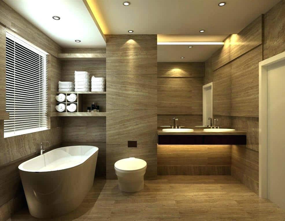 false ceiling idea for a golden look bathroom design with golden floor